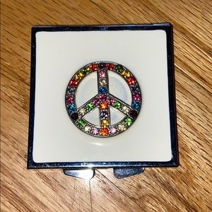 Compact Mirror Rhinestone peace sign